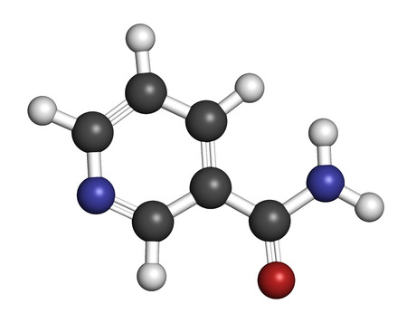 Nicotinamide drug and vitamin molecule. Atoms are represented as spheres with conventional color coding: hydrogen (white), carbon (grey), oxygen (red), nitrogen (blue). photo
