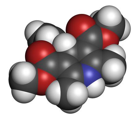 angor: Bloqueur des canaux calciques nif�dipine drogues. Utilis� dans le traitement de l'angine et l'hypertension (haute pression sanguine). Atomes sont repr�sent�s comme des sph�res avec codage couleur classique: l'hydrog�ne (blanc), le carbone (gris), l'oxyg�ne (rouge), l'azote (bleu). Banque d'images