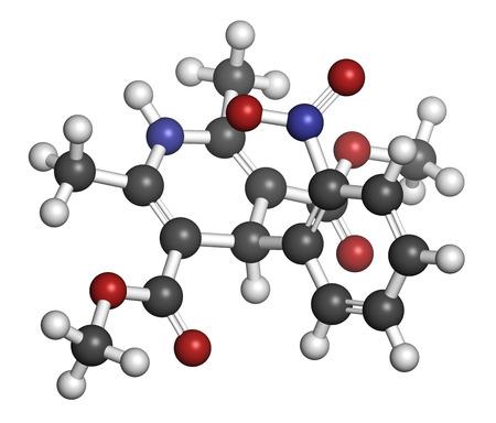 angor: Bloqueur des canaux calciques m�dicament nif�dipine. Utilis� dans le traitement de l'angine de poitrine et l'hypertension (haute pression sanguine). Les atomes sont repr�sent�s par des sph�res avec codage couleur classiques: l'hydrog�ne (blanc), le carbone (gris), d'oxyg�ne (rouge), l'azote (bleu).