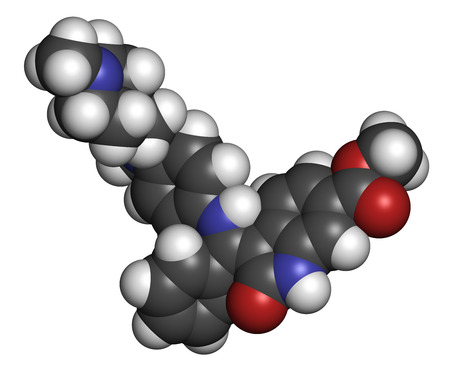 endothelial: Nintedanib cancer drug molecule. Angiogenesis inhibitor. Atoms are represented as spheres with conventional color coding: hydrogen (white), carbon (grey), oxygen (red), nitrogen (blue). Stock Photo