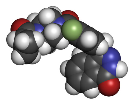 polymerase: Olaparib cancer drug molecule. Inhibitor of PARP (poly ADP-ribose polymerase). Atoms are represented as spheres with conventional color coding: hydrogen (white), carbon (grey), oxygen (red), nitrogen (blue), fluorine (light green).
