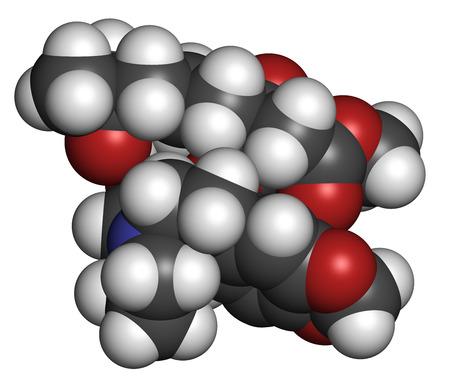 elongacion: Omacetaxina mepesuccinate mol�cula de medicamento contra el c�ncer. Se utiliza en el tratamiento de la leucemia miel�gena cr�nica (LMC). Los �tomos se representan como esferas con codificaci�n de colores convencionales: hidr�geno (blanco), carbono (gris), ox�geno (roja), nitr�geno (azul).