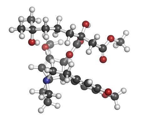 elongacion: Omacetaxina mepesuccinate molécula de medicamento contra el cáncer. Se utiliza en el tratamiento de la leucemia mieloide crónica (LMC). Los átomos se representan como esferas con codificación de colores convencionales: hidrógeno (blanco), carbón (gris), oxígeno (rojo), nitrógeno (azul).