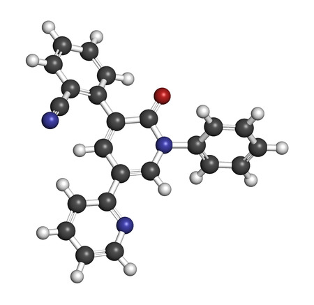 glutamate: Perampanel epilepsy drug molecule. Used in treatment of seizures. Atoms are represented as spheres with conventional color coding: hydrogen (white), carbon (grey), oxygen (red), nitrogen (blue).