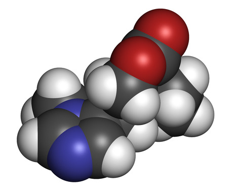 agonist: Pilocarpine alkaloid drug molecule. Used in treatment of glaucoma and dry mouth (xerostomia). Atoms are represented as spheres with conventional color coding: hydrogen (white), carbon (grey), oxygen (red), nitrogen (blue).