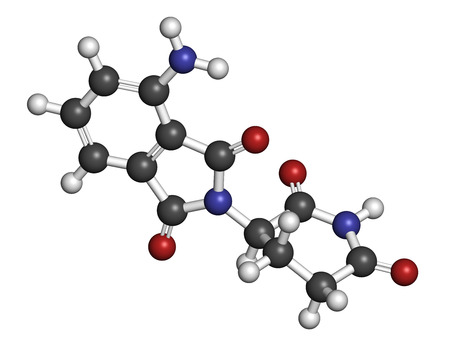 teratogenic: Pomalidomide multiple myeloma drug molecule. Related to thalidomide. Atoms are represented as spheres with conventional color coding: hydrogen (white), carbon (grey), oxygen (red), nitrogen (blue).