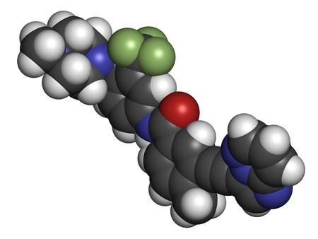 leucemia: Ponatinib mol�cula de medicamento contra el c�ncer. Inhibidor de la tirosina quinasa usa en el tratamiento de la leucemia mieloide cr�nica (LMC) y leucemia linfobl�stica aguda (LLA). Los �tomos se representan como esferas con codificaci�n de colores convencionales: hidr�geno (blanco), carb�n (gris), ox�geno