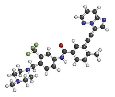 leucemia: Ponatinib mol�cula de medicamento contra el c�ncer. Inhibidor de la tirosina quinasa usa en el tratamiento de la leucemia mieloide cr�nica (CML) y leucemia linfobl�stica aguda (ALL). Los �tomos se representan como esferas con codificaci�n de colores convencionales: hidr�geno (blanco), carbono (gris), ox�geno Foto de archivo