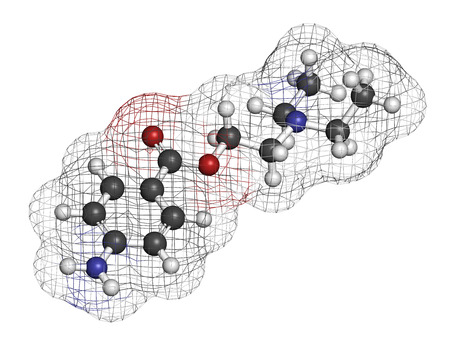 topical: Procaine topical anesthetic drug molecule. Atoms are represented as spheres with conventional color coding: hydrogen (white), carbon (grey), oxygen (red), nitrogen (blue). Stock Photo