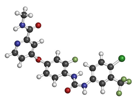 Regorafenib cancer drug molecule. Atoms are represented as spheres with conventional color coding: hydrogen (white), carbon (grey), oxygen (red), nitrogen (blue), chlorine (green), fluorine (light green).