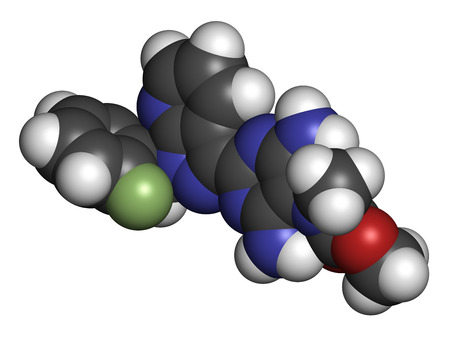 Riociguat pulmonary hypertension (PH) drug molecule. Stimulator of soluble guanylate cyclase (sGC). Atoms are represented as spheres with conventional color coding: hydrogen (white), carbon (grey), oxygen (red), nitrogen (blue), fluorine (light green).