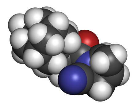 inhibitory: Saxagliptin diabetes drug molecule. Inhibitor of dipeptidyl peptidase-4 (DPP4). Atoms are represented as spheres with conventional color coding: hydrogen (white), carbon (grey), oxygen (red), nitrogen (blue).