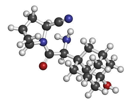 pancreatic cancer: Saxagliptin diabetes drug molecule. Inhibitor of dipeptidyl peptidase-4 (DPP4). Atoms are represented as spheres with conventional color coding: hydrogen (white), carbon (grey), oxygen (red), nitrogen (blue).