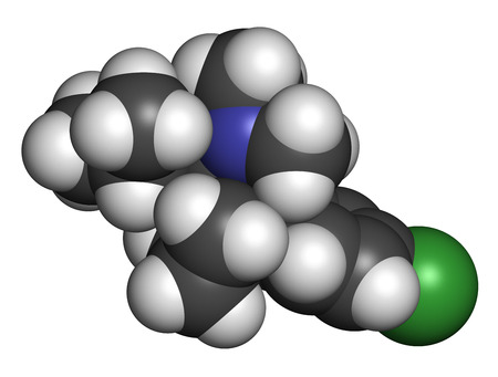 Sibutramine obesity drug molecule. Atoms are represented as spheres with conventional color coding: hydrogen (white), carbon (grey), chlorine (green), nitrogen (blue). photo