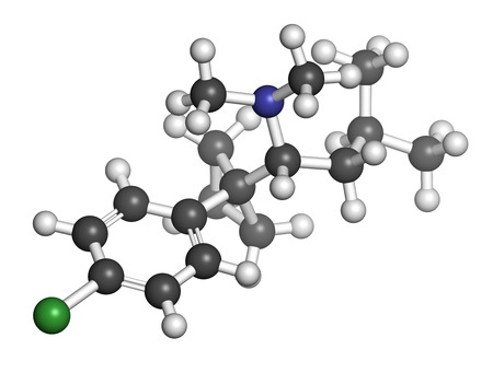 Sibutramine obesity drug molecule. Atoms are represented as spheres with conventional color coding: hydrogen (white), carbon (grey), chlorine (green), nitrogen (blue).