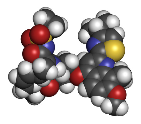 protease: Simeprevir hepatitis C virus (HCV) drug molecule. Atoms are represented as spheres with conventional color coding: hydrogen (white), carbon (grey), oxygen (red), nitrogen (blue), sulfur (yellow).