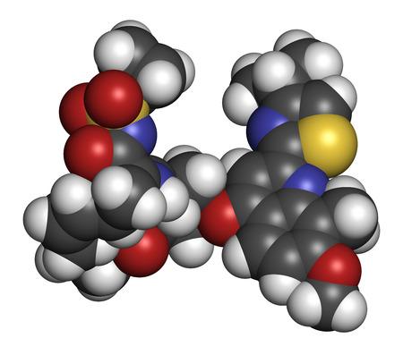 protease: Simeprevir virus de la hepatitis C (VHC) mol�cula de f�rmaco. Los �tomos se representan como esferas con codificaci�n de colores convencionales: hidr�geno (blanco), carbono (gris), ox�geno (roja), nitr�geno (azul), azufre (amarillo).