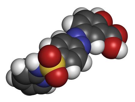 bowel disease: La sulfasalazina mol�cula de f�rmaco. Utilizados en el tratamiento de la artritis reumatoide y la enfermedad inflamatoria del intestino (enfermedad de Crohn y colitis ulcerosa). Los �tomos se representan como esferas con codificaci�n de color convencional: hidr�geno (blanco), carbono (gris), ox�geno (rojo),