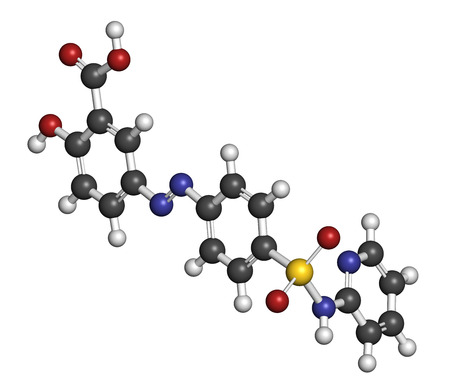 colitis: Sulfasalazine drug molecule. Used in treatment of rheumatoid arthritis and inflammatory bowel disease (Crohns disease and ulcerative colitis). Atoms are represented as spheres with conventional color coding: hydrogen (white), carbon (grey), oxygen (red),