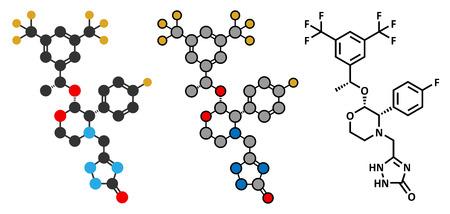 representations: Aprepitant antiemetic drug molecule. Conventional skeletal formula and stylized representations.