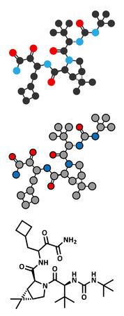 hepatitis virus: Boceprevir hepatitis C virus (HCV) drug molecule. Conventional skeletal formula and stylized representations.