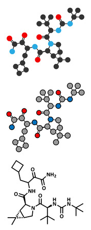 Boceprevir hepatitis C virus (HCV) drug molecule. Conventional skeletal formula and stylized representations.