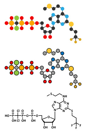 Cangrelor antiplatelet drug molecule. Conventional skeletal formula and stylized representations.