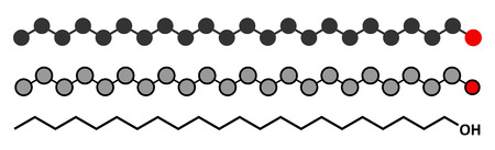 antiviral: Docosanol (behenyl alcohol) antiviral drug molecule. Used in treatment of cold sores (herpes simplex virus). Conventional skeletal formula and stylized representations.