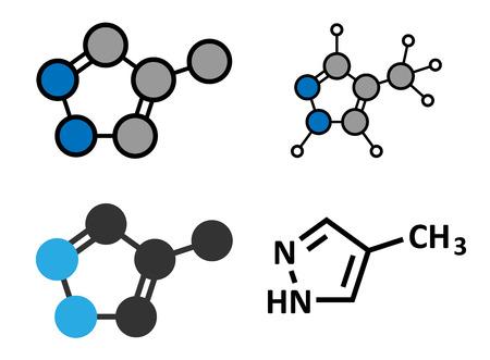 antidote: Fomepizol methanol vergiftiging tegengif molecuul. Conventionele skelet formule en gestileerde voorstellingen. Stock Illustratie