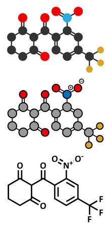 herbicide: Nitisonone hereditary tyrosinemia type 1 drug molecule. Conventional skeletal formula and stylized representations.