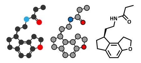 Ramelteon insomnia drug molecule.  Conventional skeletal formula and stylized representations. Vector