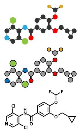 fluorine: Roflumilast COPD drug molecule (PDE4 inhibitor). Conventional skeletal formula and stylized representations. Illustration
