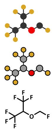 fluorine: Sevoflurane inhalational anesthetic molecule. Conventional skeletal formula and stylized representations.