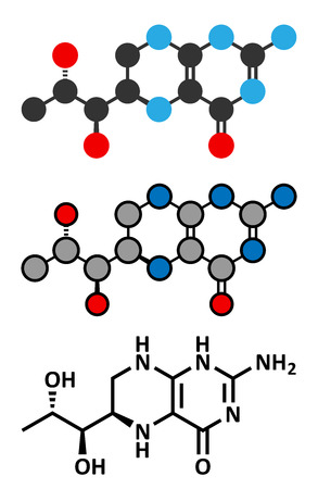 Tetrahydrobiopterin (sapropterin) phenylketonuria drug molecule. Cofactor to a number of aromatic amino acid hydroxylase enzymes. Conventional skeletal formula and stylized representations.