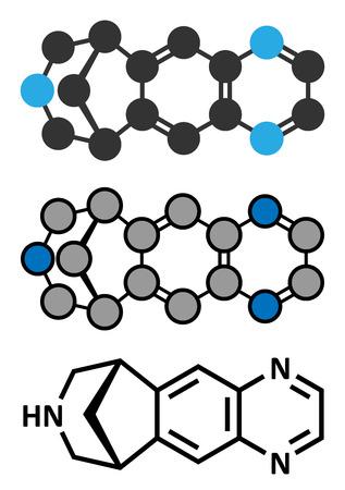 agonist: Varenicline smoking cessation drug molecule. Conventional skeletal formula and stylized representations. Illustration