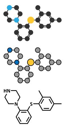 representations: Vortioxetine antidepressant drug molecule. Conventional skeletal formula and stylized representations. Illustration