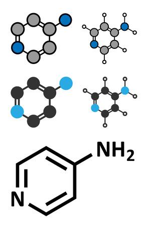 ms: fampridine (4-aminopyridine, dalfampridine) multiple sclerosis drug molecule. Conventional skeletal formula and stylized representations.