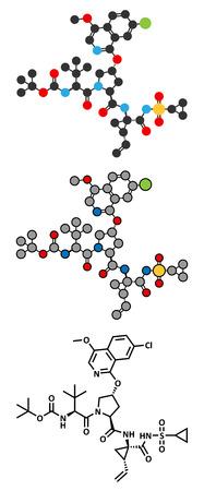 protease: Asunaprevir hepatitis C virus (HCV) drug molecule. Conventional skeletal formula and stylized representations.