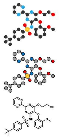 pulmonary artery: Bosentan pulmonary artery hypertension (PAH) drug molecule. Conventional skeletal formula and stylized representations.