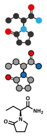 epilepsy: Levetiracetam epilepsy (seizures) drug molecule. S-isomer of etiracetam. Conventional skeletal formula and stylized representations. Illustration