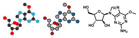 leucemia: Nelarabina mol�cula de medicamento para la leucemia. F�rmula esquel�tico convencional y representaciones estilizadas.