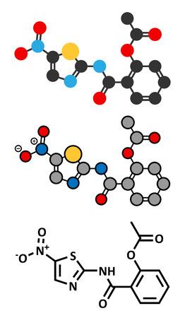 giardia: Nitazoxanide antiprotozoal drug molecule. Conventional skeletal formula and stylized representations. Illustration