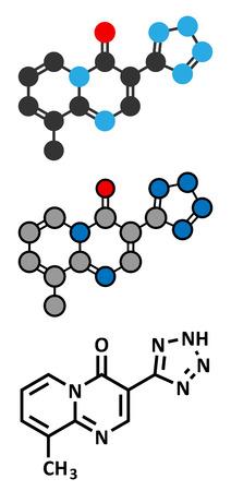 mast cells: Pemirolast eye allergy drug molecule. Conventional skeletal formula and stylized representations.