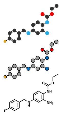 anticonvulsant: Retigabine (ezogabine) anticonvulsant drug molecule. Used in treatment of seizures (epilepsy). Conventional skeletal formula and stylized representations. Illustration