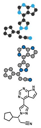 kinase: Ruxolitinib myelofibrosis cancer drug molecule (janus kinase inhibitor). Conventional skeletal formula and stylized representations. Illustration