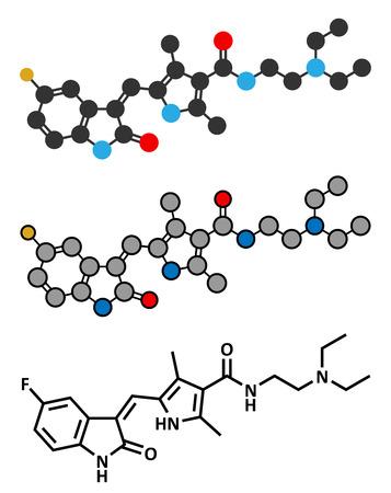 Sunitinib cancer drug molecule. Conventional skeletal formula and stylized representations. Vektoros illusztráció