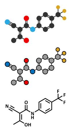 ms: Teriflunomide multiple sclerosis (MS) drug molecule. Conventional skeletal formula and stylized representations.