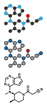 janus: Tofacitinib rheumatoid arthritis drug molecule. Inhibitor of Janus kinase 3 (JAK3). Conventional skeletal formula and stylized representations.