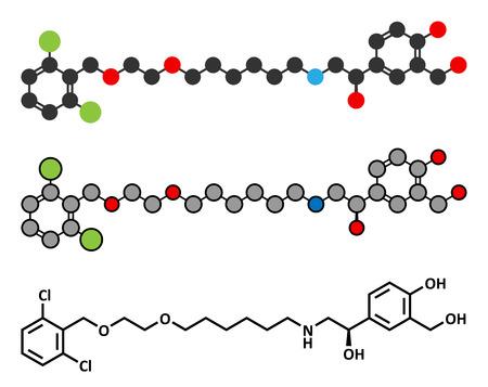Vilanterol COPD drug molecule. Conventional skeletal formula and stylized representations.