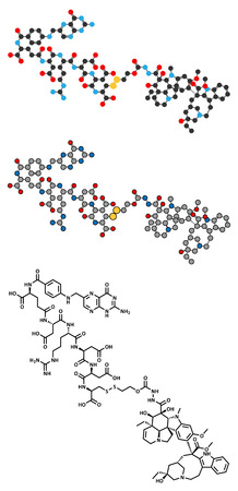 representations: Vintafolide cancer drug molecule. Conventional skeletal formula and stylized representations. Illustration